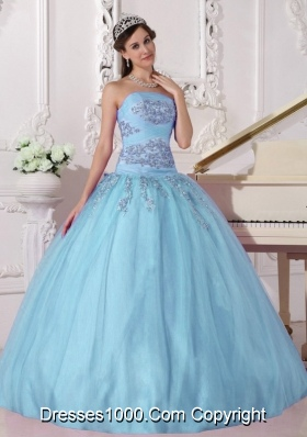 Sky Blue Ball Gown Strapless Quinceanera Dress with  Tulle Beading