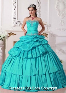 Turquoise Ball Gown Sweetheart Quinceanera Dress with  Taffeta Beading  Detachable