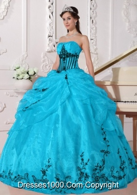 Aqua and Black Ball Gown Strapless Quinceanera Dress with  Organza Appliques