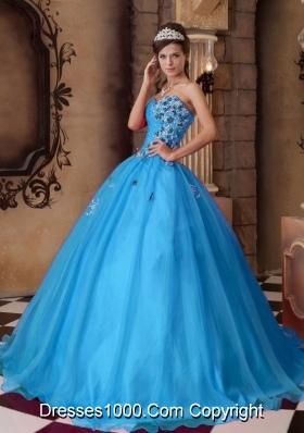 Aqua Blue A-line Sweetheart Floor-length Organza Beading Quinceanera Dress