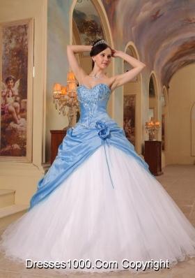 Aqua Blue and White Princess Sweetheart Quinceanera Dress  with Beading Tulle Taffeta