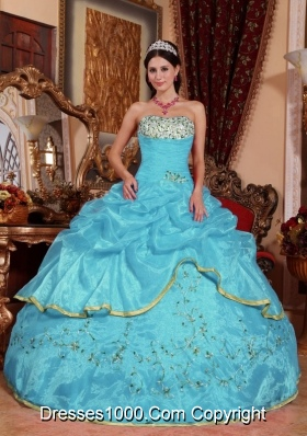 Aqua Blue Ball Gown Strapless Quinceanera Dress with  Organza Appliques
