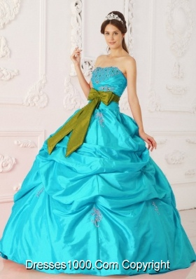 Aqua Blue Ball Gown Strapless Quinceanera Dress with  Taffeta Beading Sash