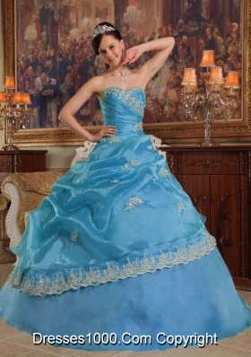 Aqua Blue Ball Gown Sweetheart Quinceanera Dress  with  Appliques Organza