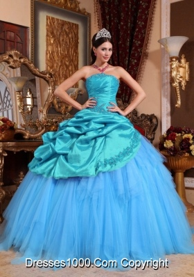 Blue Ball Gown Strapless Quinceanera Dress  Appliques with Beading