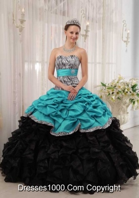 Brand New Turquoise and Black Ball Gown Sweetheart Quinceanera Dress