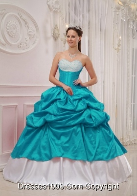 Teal and White Sweetheart Taffeta Beading and Pick-ups Quinceanera Dress
