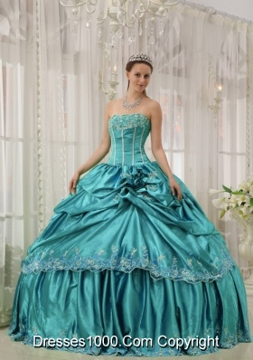 Teal Ball Gown Strapless Quinceanera Dress with  Taffeta Beading Applique