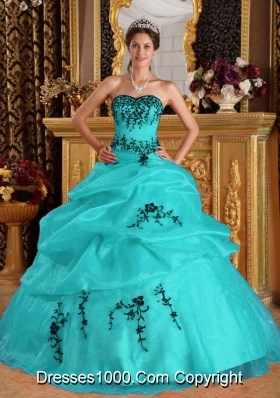 Turquoise Ball Gown Sweetheart Quinceanera Dress  with Organza Embroidery