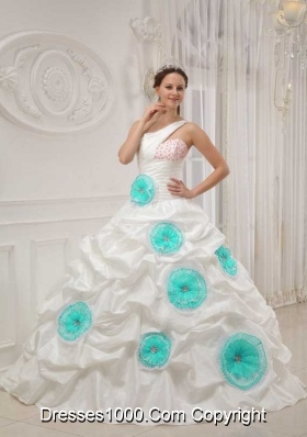 White Ball Gown One Shoulder Quinceanera Dress with Taffeta Beading