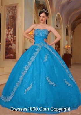 2014 Teal Ball Gown Sweetheart Embroidery Quinceanera Dress with Beading