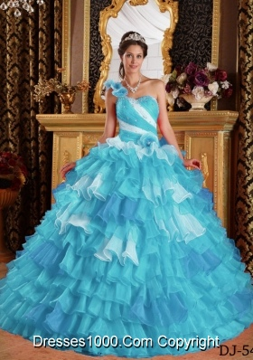 Aqua Blue Ball Gown One Shoulder Quinceanera Dress with  Organza Ruffles Beading