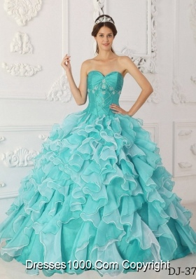 Aqua Blue  Princess Sweetheart Quinceanera Dress Taffeta Organza Beading