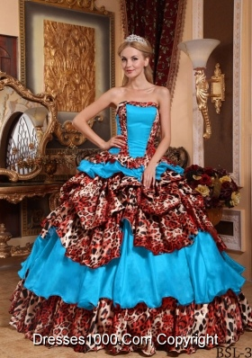 Blue Ball Gown Strapless Floor-length Quinceanera Dress with Taffeta Pick-ups