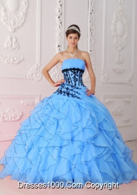2014 Cute Sweet Ball Gown Strapless Appliques in Aqua Blue Quinceanera Dress with Ruffles