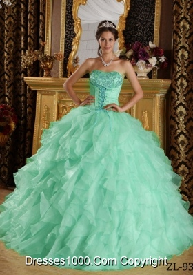 Apple Green Strapless  Satin and Organza Embroidery Quinceanera Dress with Beading