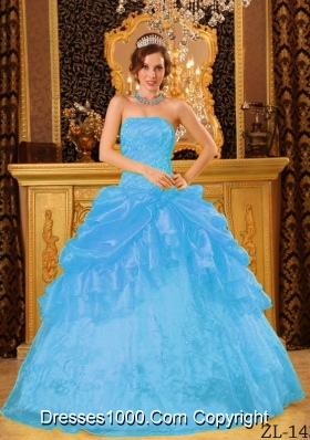 Aqua Blue Ball Gown Strapless Floor-length Organza Quinceanera Dress with Appliques