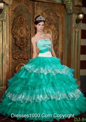 Puffy Strapless Floor-length Quinceanera Dress in Aqua Blue