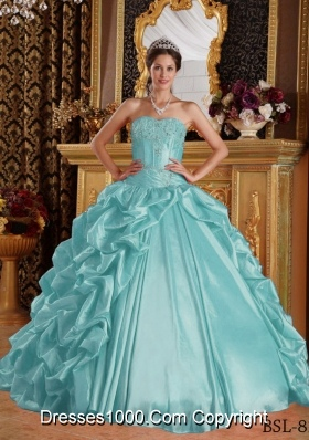 Aqua Blue Ball Gown Sweetheart Quinceanera Dress  with Taffeta Emboridery  Beading