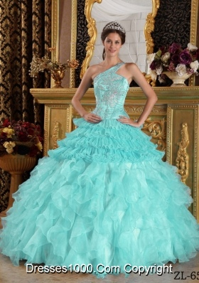 Baby Blue Ball Gown One Shoulder Quinceanera Dress  Satin Organza Beading