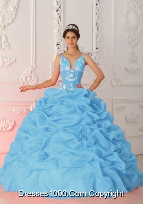 Baby Blue Ball Gown Straps Quinceanera Dress with Organza Appliques