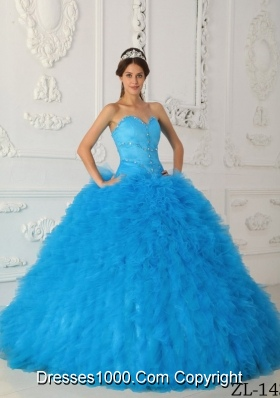 Exquisite Aqua Blue Ball Gown Sweetheart with Beading Quinceanera Dress