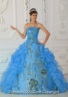 Exquisite Ball Gown Strapless Floor-length Embroidery Aqua Blue Quinceanera Dress