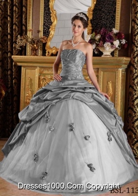 Gorgeous Gray Puffy Strapless Beading for 2014 Quinceanera Dress with Pick-ups