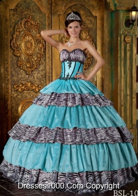 Luxurious Ball Gown Sweetheart Quinceanera Dress with  Zebra Ruffles