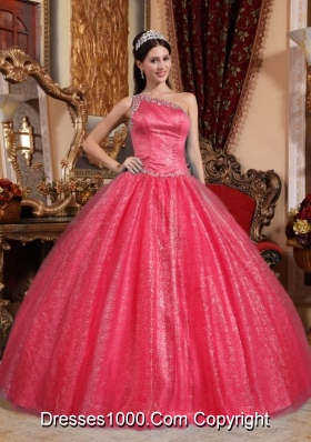 One Shoulder Puffy Beadeding Red Sequined Quince Dresses