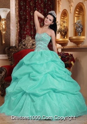 Perfect Aqua Blue Ball Gown Sweetheart Beading Quinceanera Dress with Pick-ups