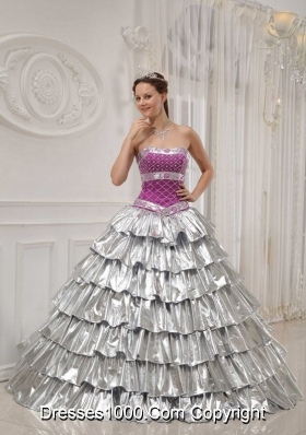 Popular Princess Strapless Beading Quinceanera Dress with Ruffled Layers