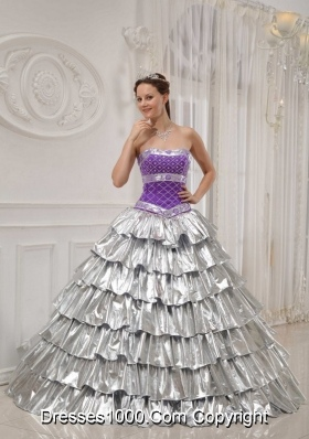 Popular Princess Strapless Beading Quinceanera Dress with Ruffled Layers for 2014