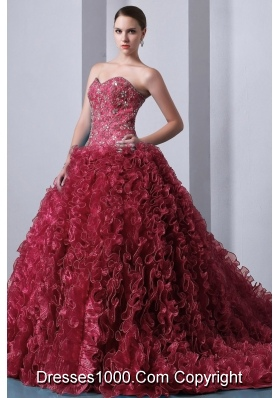 Princess Sweetheart Organza Beading and Ruffles Brush Train Quinceanera Gown Dresses