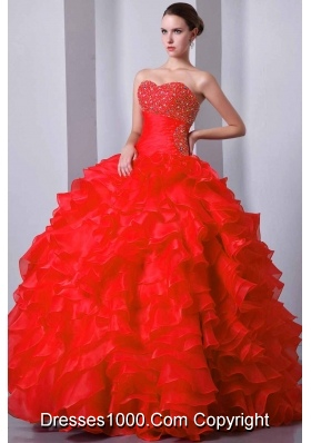 Red Princess Sweetheart Beading and Ruffles Quinceanera Gowns