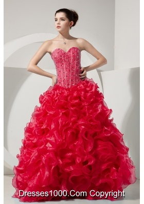 Red Princess Sweetheart Organza Beading and Ruffles Quinceneara Dresses