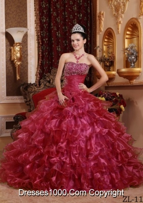 Red Strapless Organza Beading and Ruffles Quinceanera Dresses