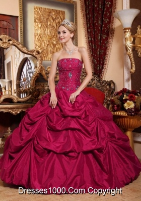 Red Strapless Taffeta Beading Dresses for Quinceanera 15
