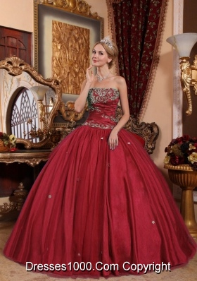 Strapless Taffeta and Tulle Appliques Quinces Wine Red Dresses