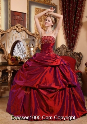 Strapless Taffeta Beading and Appliques Wine Red Quinceanera Dress