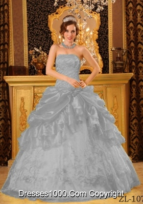 The Most Popular Gray Puffy Strapless with Appliques Quinceanera Dress for 2014
