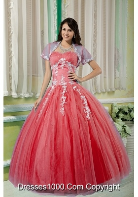 Watermelon Sweetheart Tulle Appliques Quinceneara Dresses On Sale