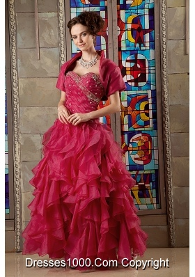 Wine Red A-line Sweetheart Organza Beading and Ruffles Sweet 16 Dresses