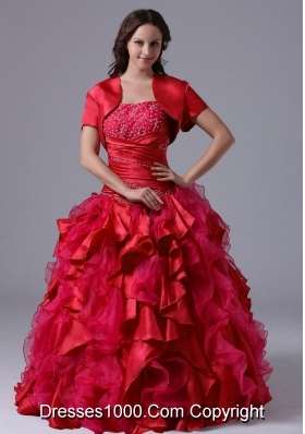 Wine Red Beaded Decorate Bust Quinceanera Gown with Ruffles