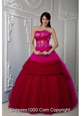 Wine Red Sweetheart Sequins and Bowknot Quinceanera