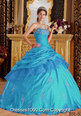 2014 Fashionable Aqua Blue Ball Gown Sweetheart Beading Quinceanera Dress with Appliques