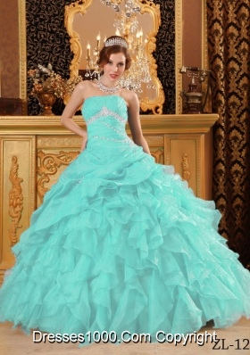 Aqua Blue  Ball Gown Floor-length Organza Quinceanera Dress with Beading  Ruffles
