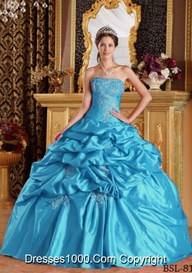 Aqua Blue Ball Gown Strapless Floor-length Quinceanera Dress with Taffeta