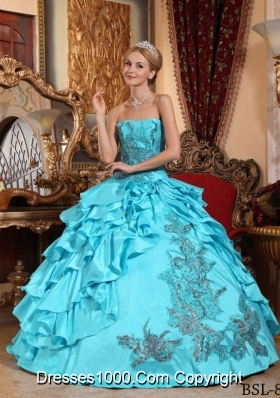 Aqua Blue Ball Gown Strapless Floor-length Quinceanera Dress with Taffeta Appliques