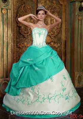 Aqua Blue  Ball Gown Strapless Floor-length Satin Quinceanera Dress  with  Embroidery